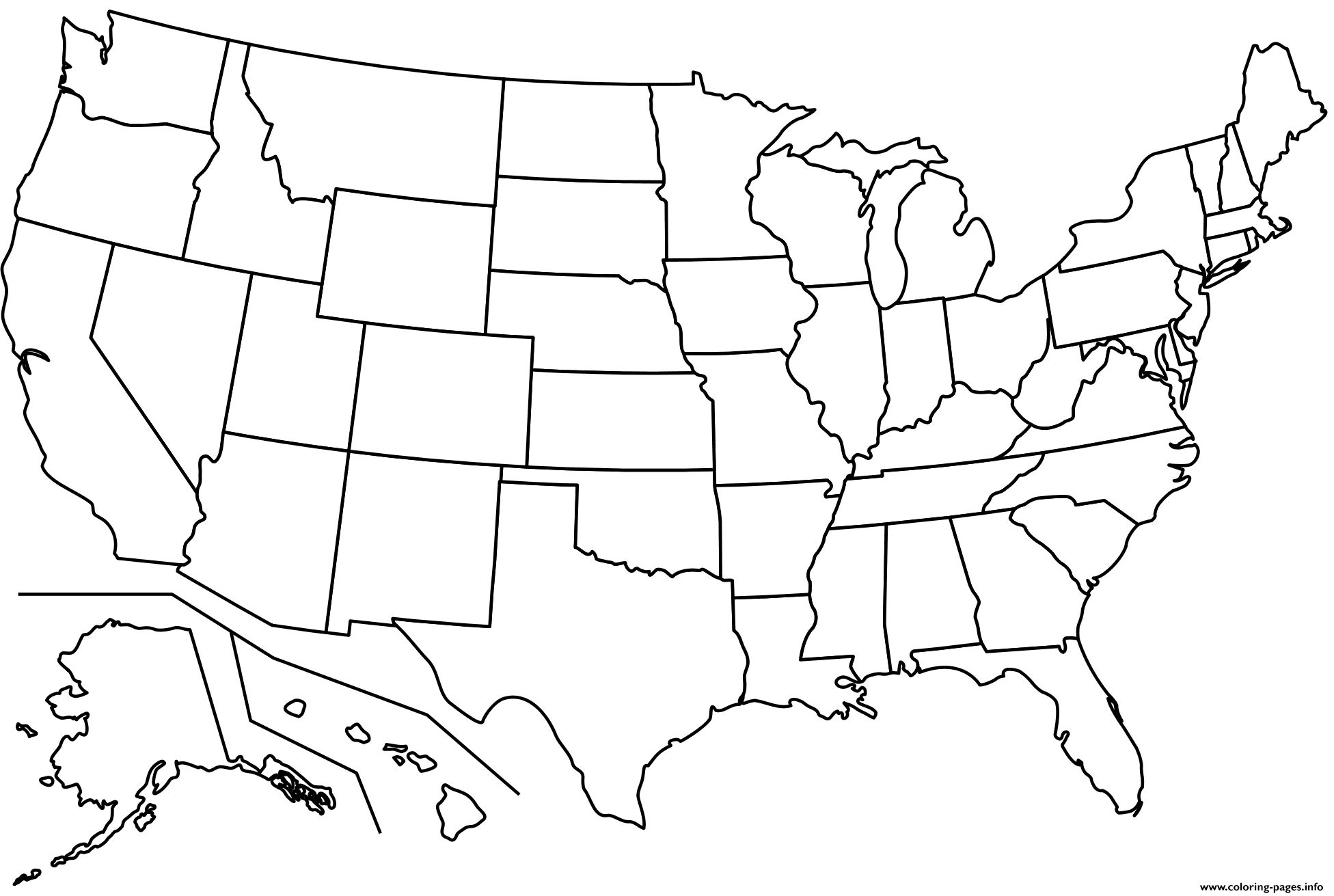Outline Map Of Us States Coloring Pages Printable