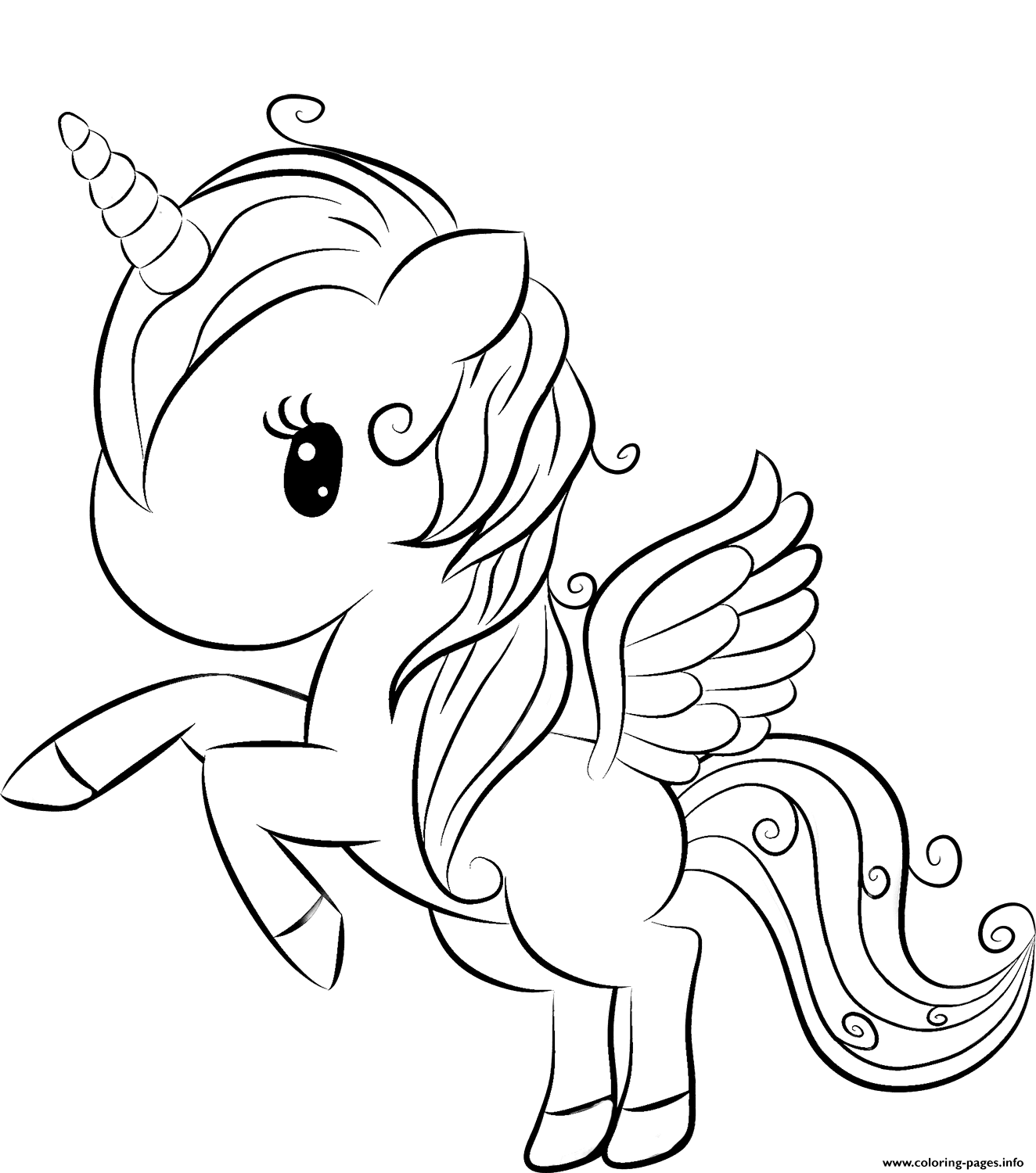Cute Unicorn 2 Coloring Pages Printable