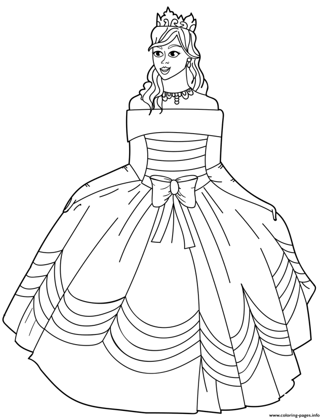 Princess In Ball Gown Off The Shoulder Dress Coloring Pages Printable