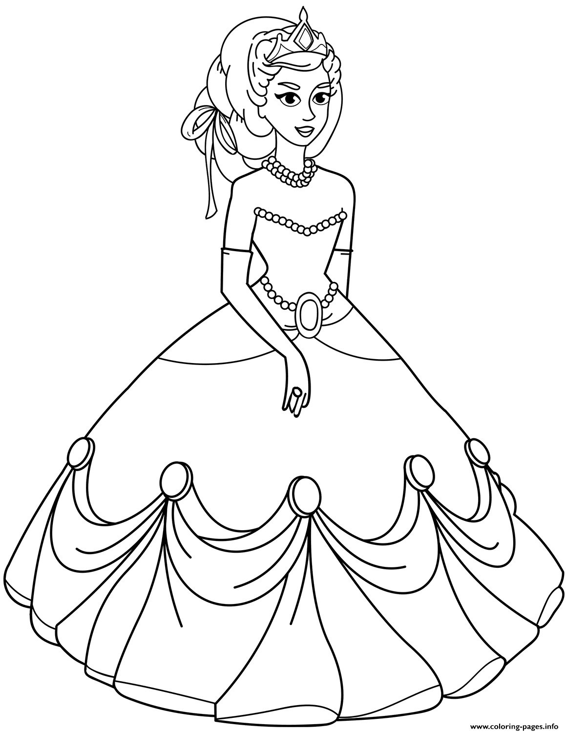 Princess In Ball Gown Dress Coloring Pages Printable