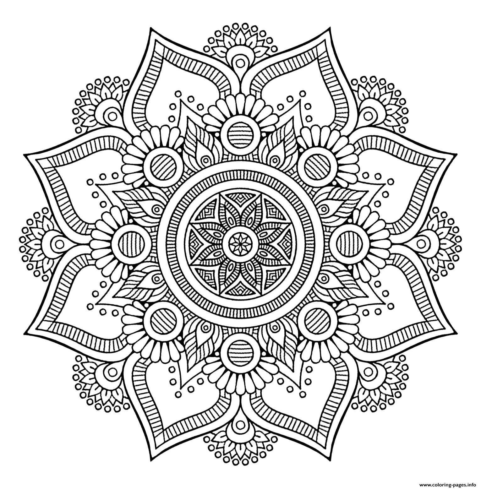 Mandala Big Flower 1 Coloring Pages Printable
