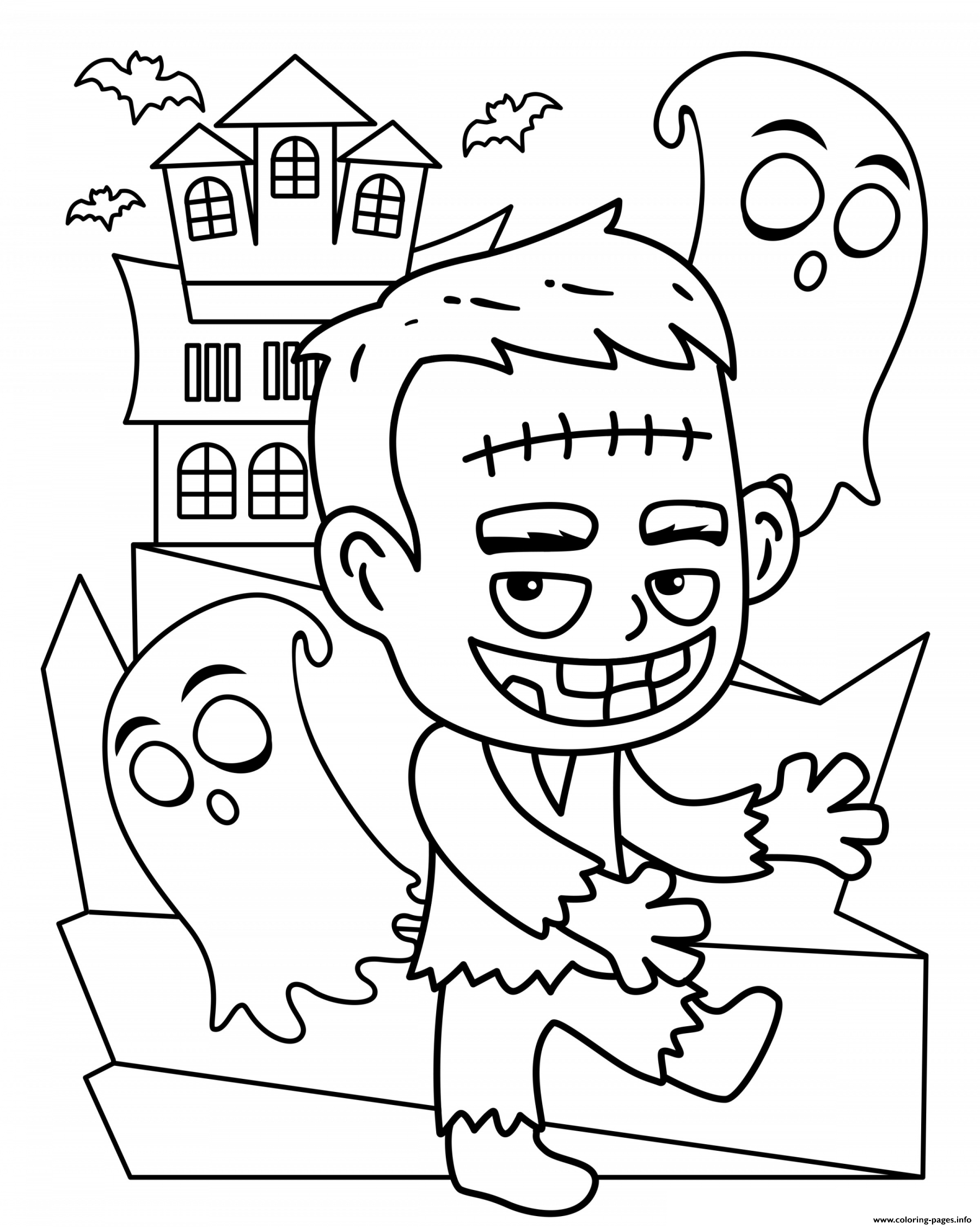 Halloween Frankenstein Cute Kids Coloring Pages Printable