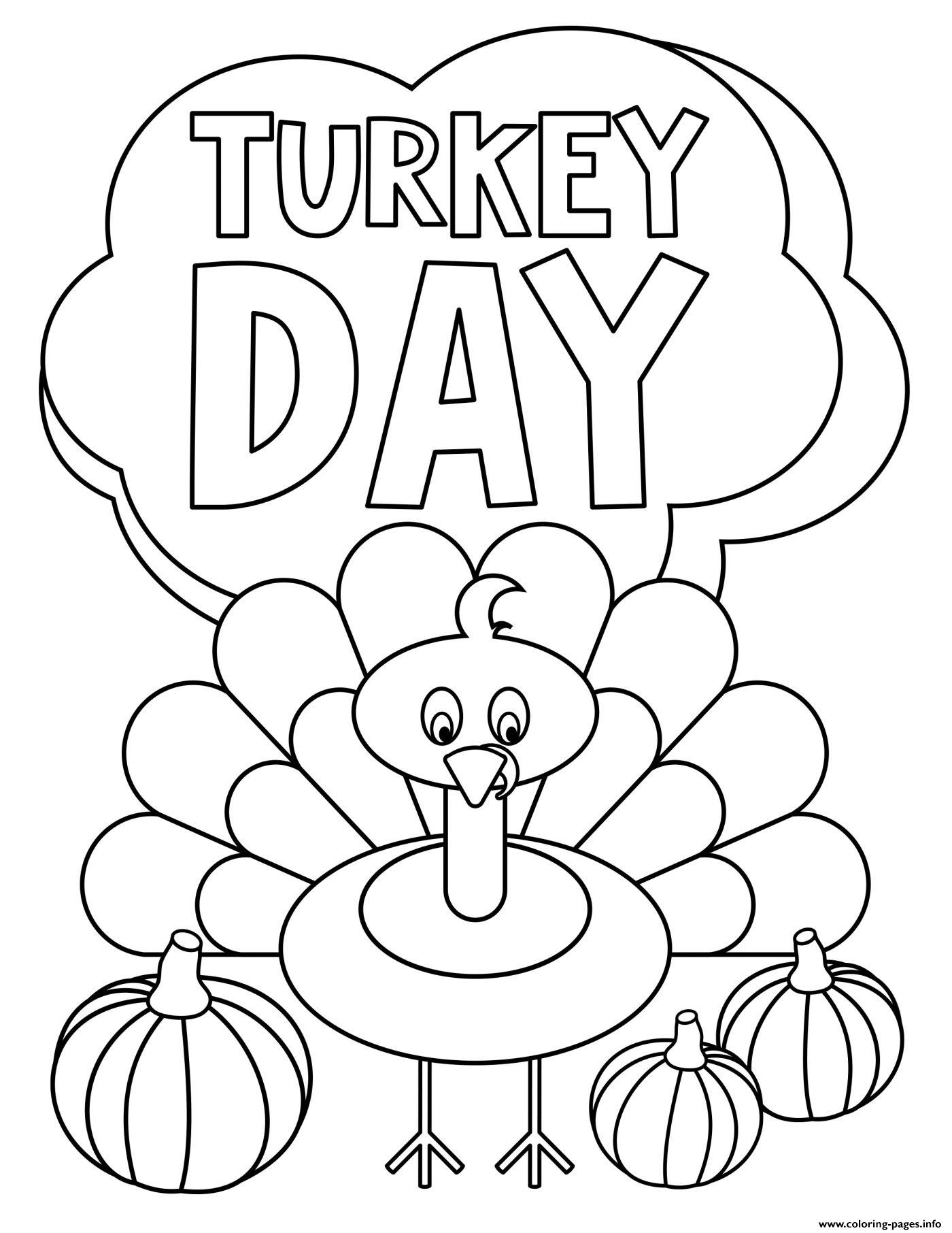Thanksgiving Turkey Day Coloring Pages Printable