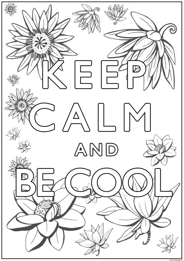Keep Calm And Be Cool Coloring Pages Printable