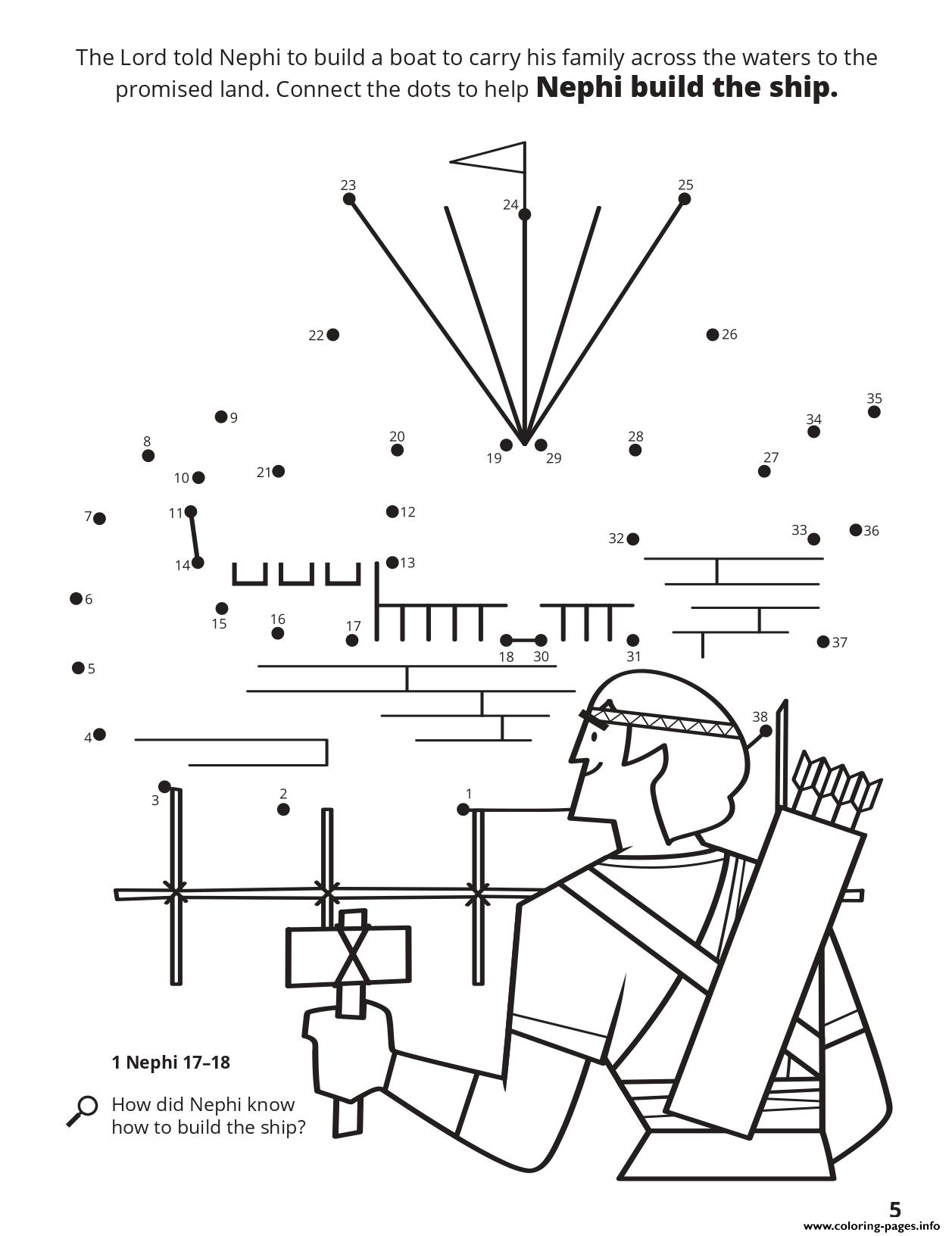 The Lord Told Nephi To Build A Boat Coloring Pages Printable