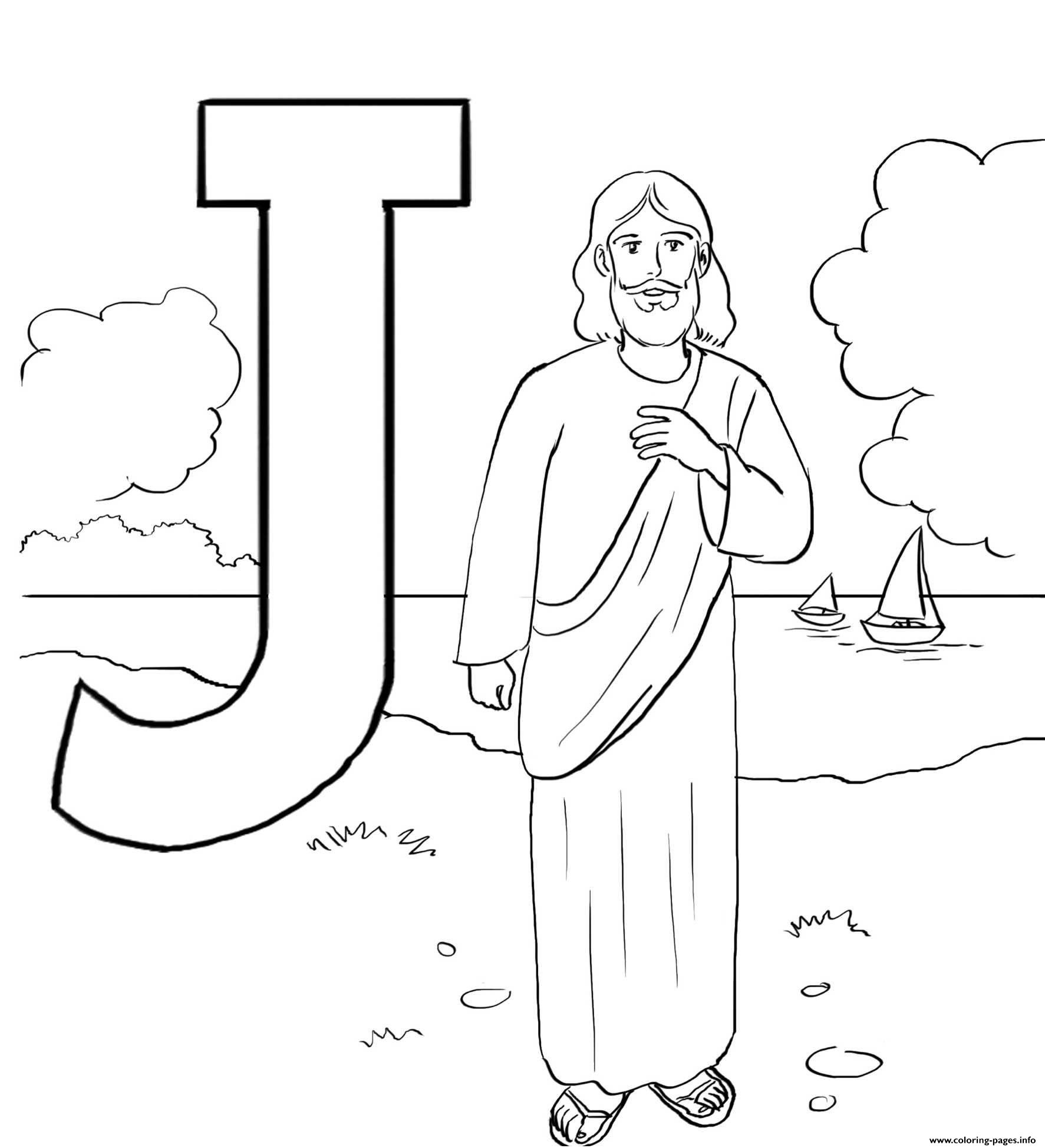 Jesus Christ Letter J Alphabet Coloring Pages Printable