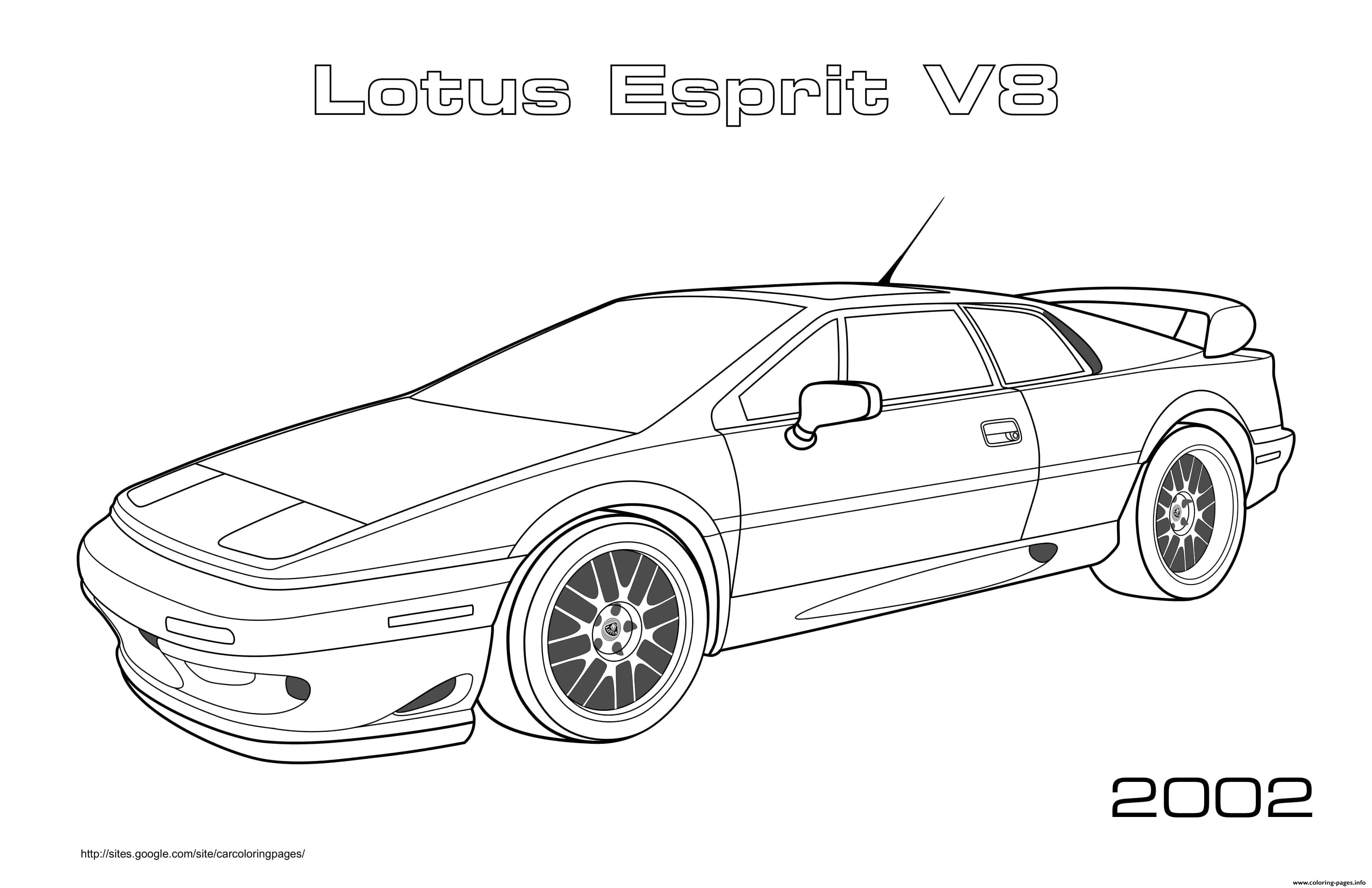 Lotus Esprit V8 Coloring Pages Printable