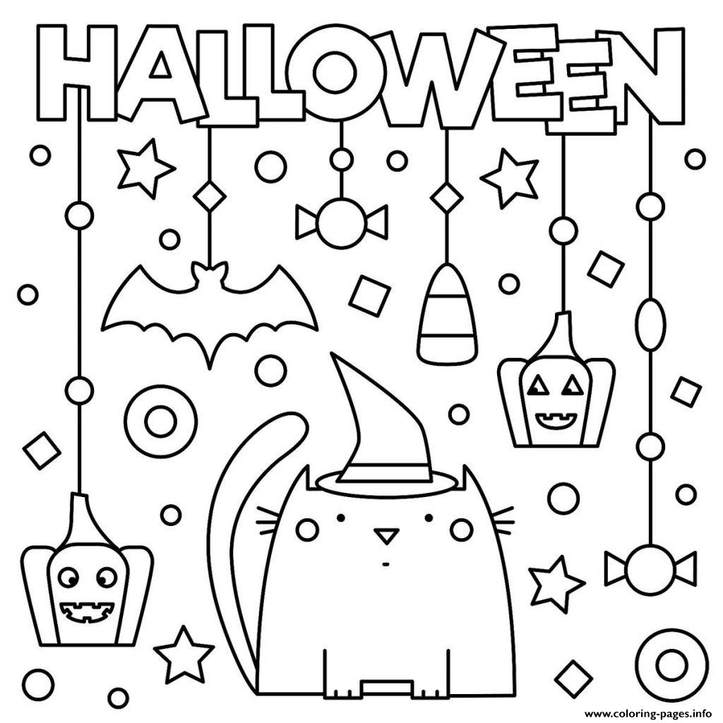 Halloween Cat Pumpkins Stars Kids Coloring Pages Printable