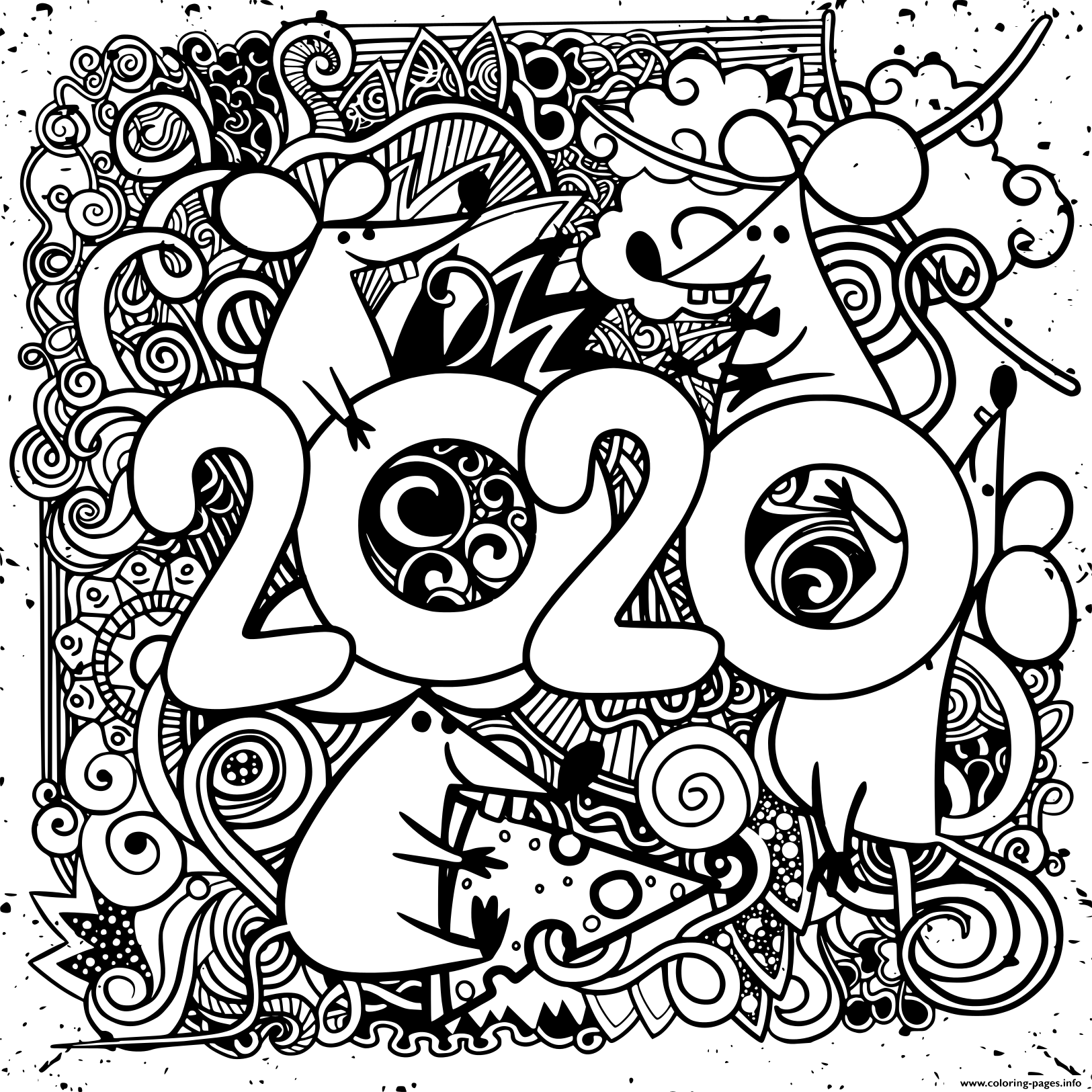 Happy New Year 2020 Coloring Pages Printable