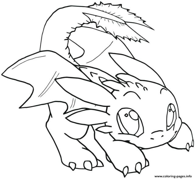 Night Fury Baby Toothless Dragon Coloring Pages Printable