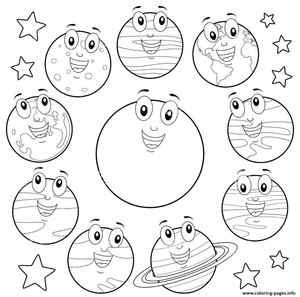 Eight Planets Cartoon Sun Coloring Pages Printable