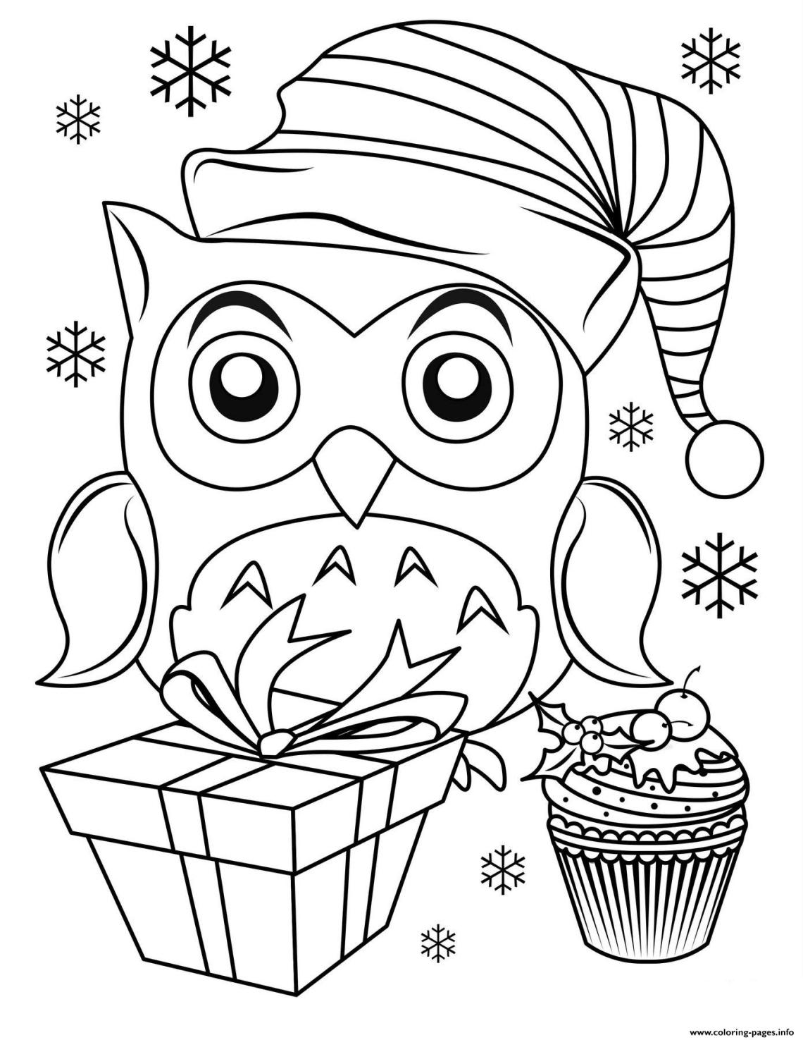 Cute Christmas Owl Coloring Pages Printable | christmas colouring pages