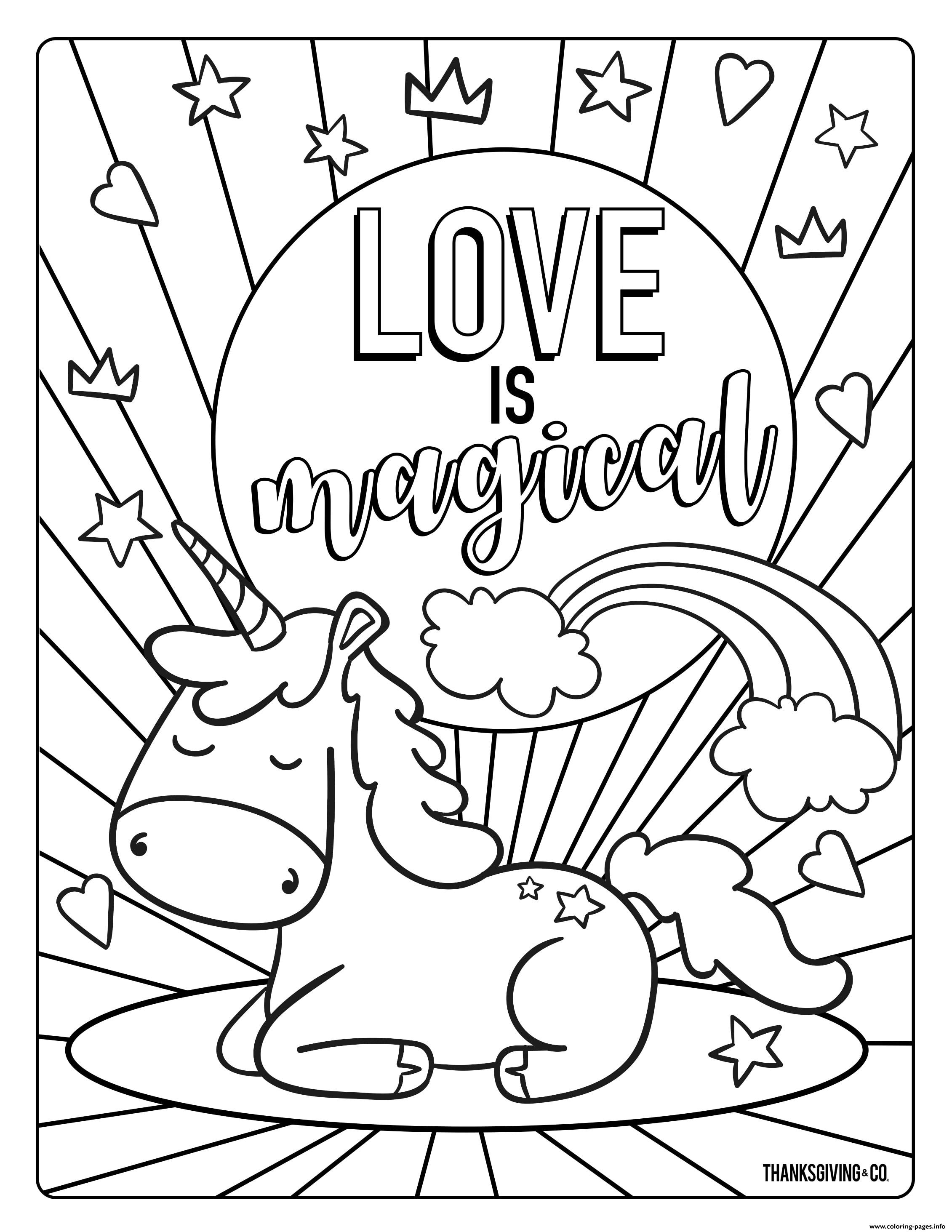 Love Is Magical Coloring Pages Printable
