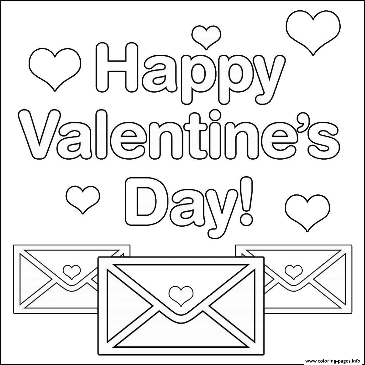Happy Valentines Day Letters With Hearts Coloring Pages