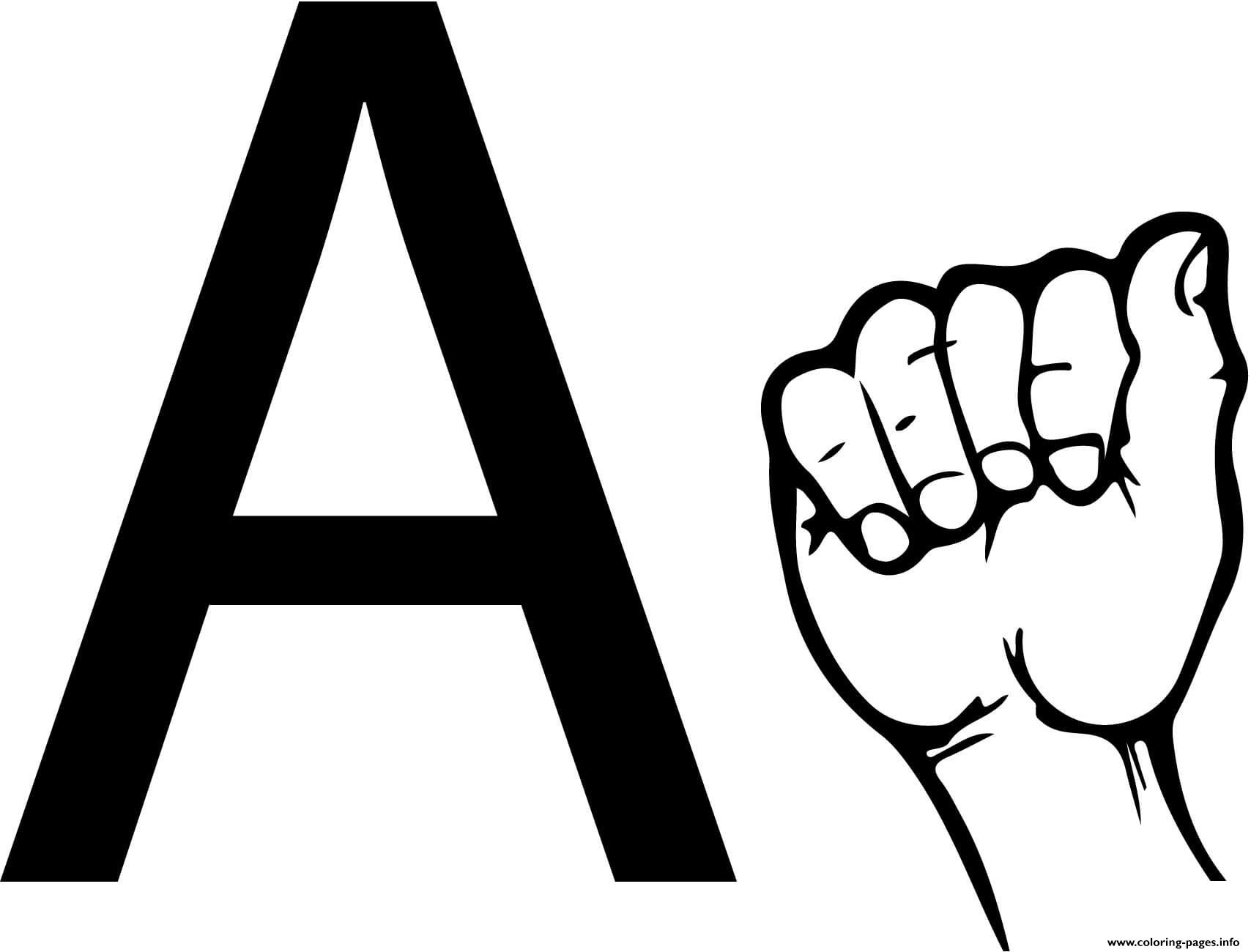 Asl Sign Language Letter A Coloring Pages Printable