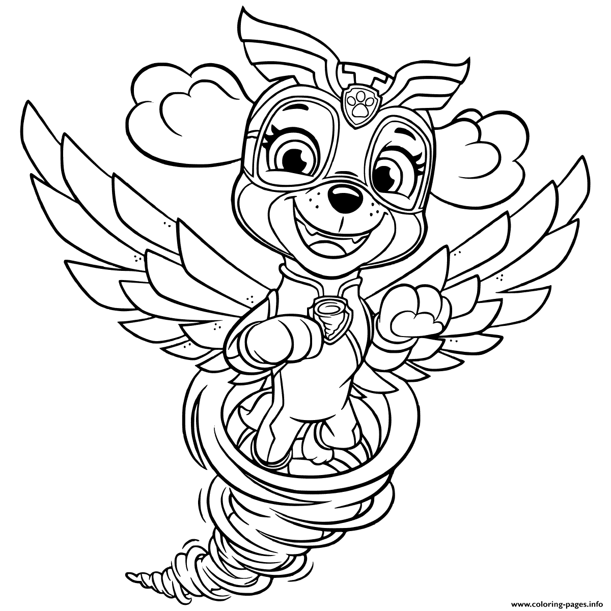 Mighty Pups Skye In Tornado Coloring Pages Printable