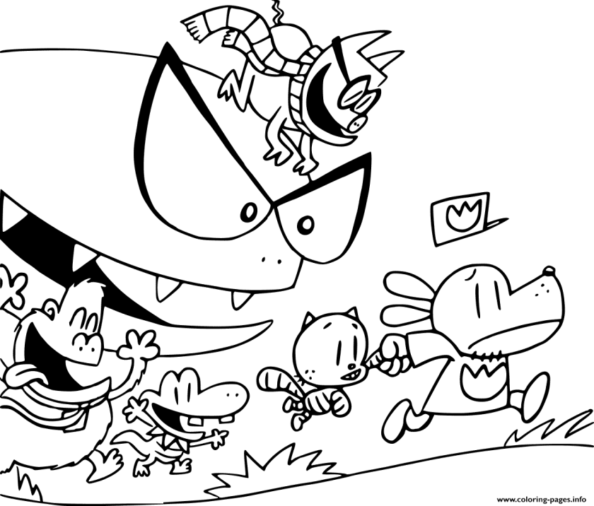 dog man is running from bad guys coloring pages printable