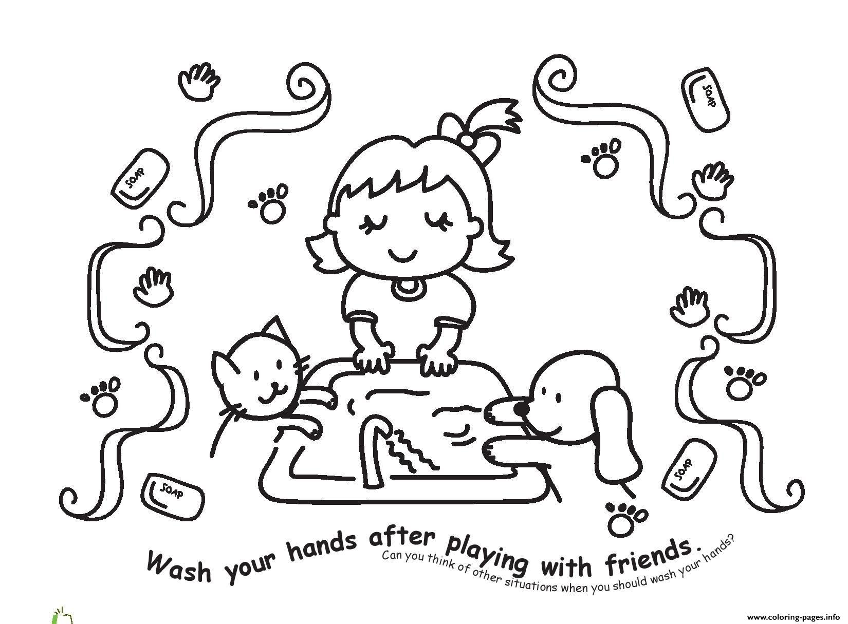 Wash Your Hands After Playing With Friends Coloring Pages