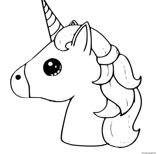 Cute Unicorn Emoji Kawaii Coloring Pages Printable