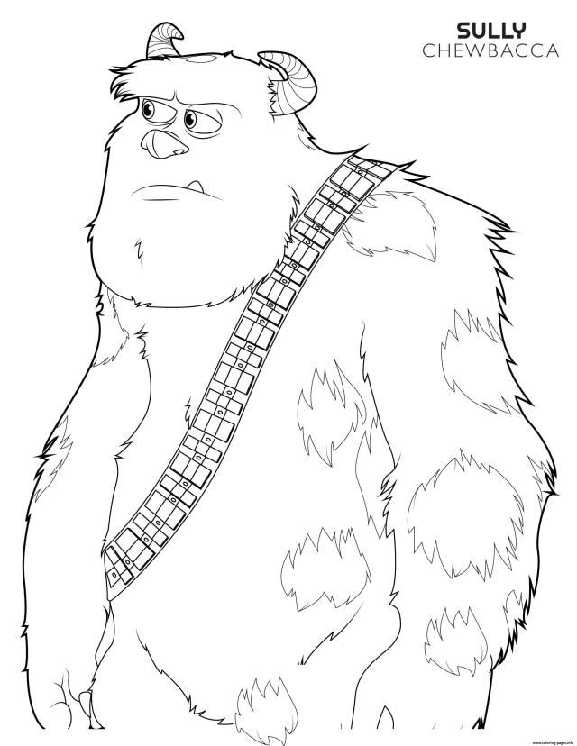 Chewbacca Sulley Disney Star Wars Coloring Pages Printable