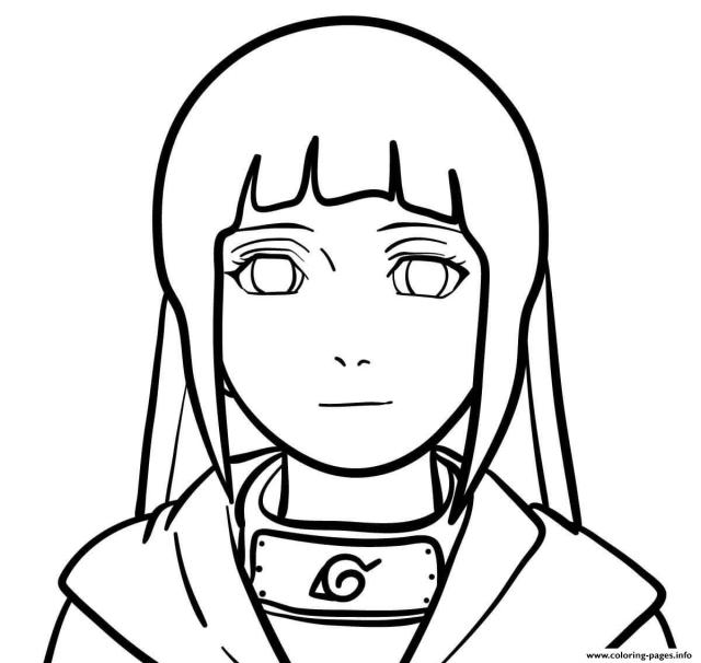 The Face Of Hinata Naruto Anime Coloring Pages Printable