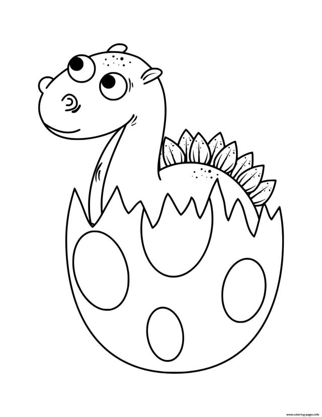 Dinosaur Baby Dinosaur Hatching From Egg Coloring Pages Printable