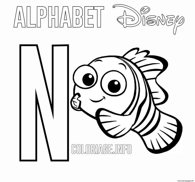 N For Nemo Disney Coloring Pages Printable