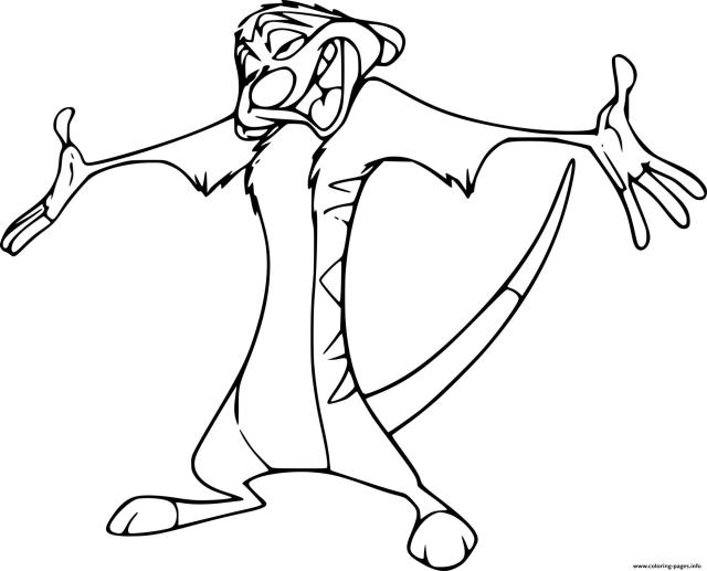 Happy Timon Meerkat Coloring Pages Printable