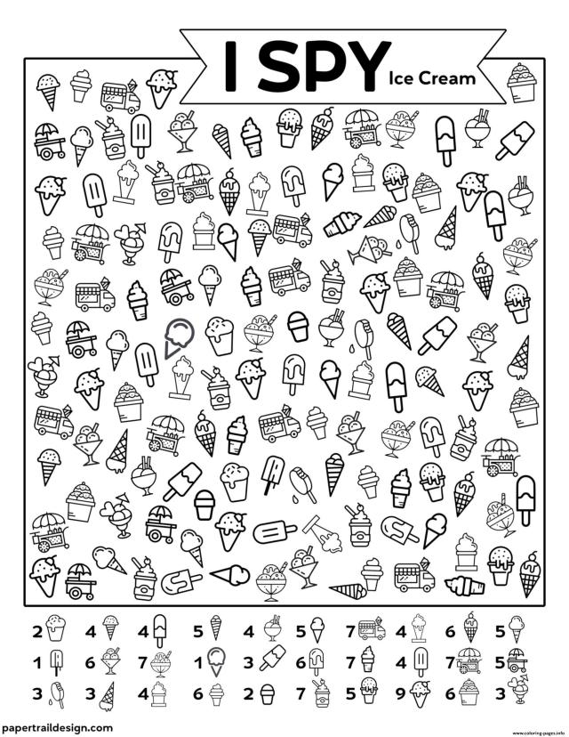 I Spy Ice Cream Coloring Pages Printable