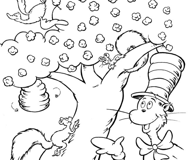 Cat In The Hat Coloring Pages Coloring Rocks