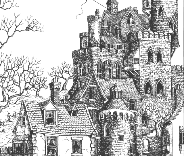 Old Castle Coloring Page Hard Coloring Rocks