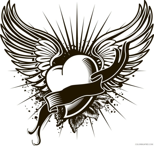 cool heart with wings coloring pages Coloring18free - Coloring18Free.com