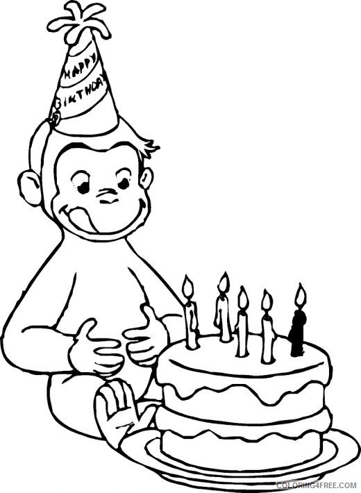 Curious George Coloring Pages Birthday Coloring4free Coloring4free Com