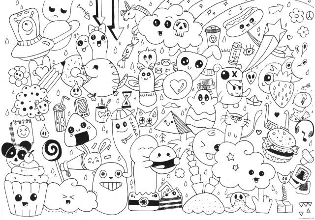 doodle coloring pages kawaii Coloring13free - Coloring13Free.com