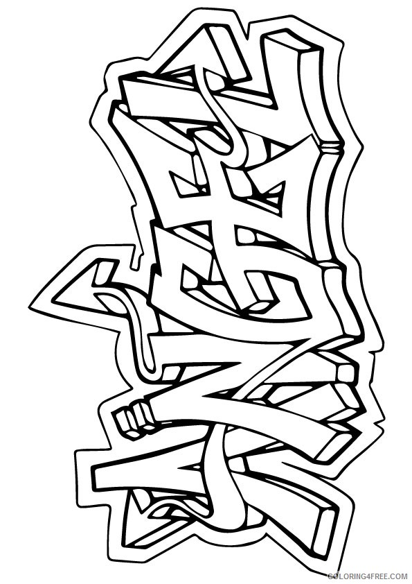 Graffiti Coloring Pages Angel Coloring4free Coloring4free Com