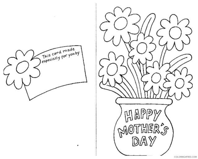 mothers day coloring pages card and flowers Coloring18free