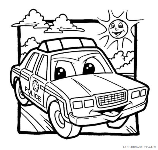 Police Car Coloring Pages Cartoon Coloring4free Coloring4free Com