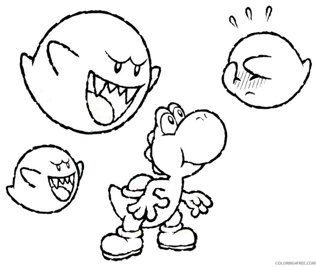 Yoshi Coloring Pages And Boo Boo Coloringfree Coloringfree Com