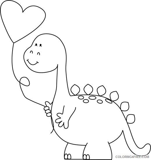 Cute Dinosaur Coloring Pages Cute Dinosaur Black And Printable Coloring4free Coloring4free Com