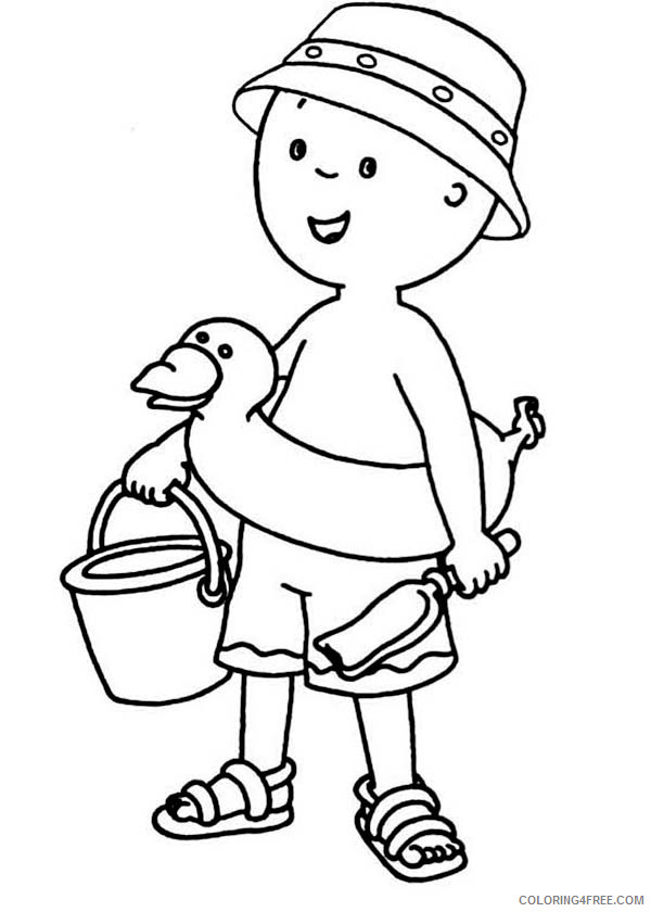 Caillou Coloring Pages Cartoons Caillou Is Ready To Paly At The Beach Printable 2020 1503 Coloring4free Coloring4free Com