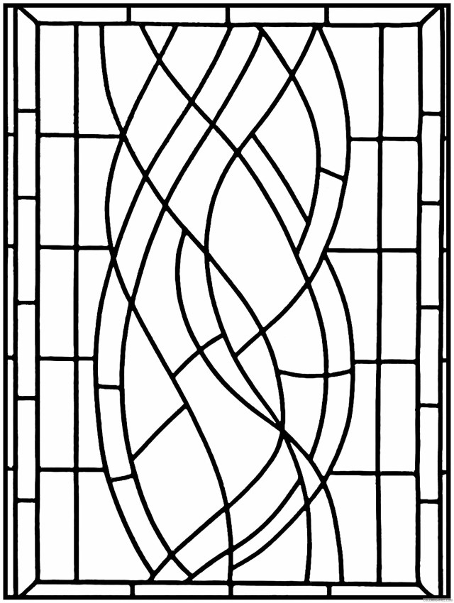 Stained Glass for Adults Coloring Pages Simple Pattern Adult