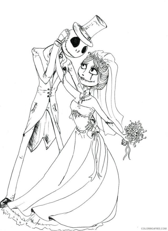 Bride Coloring Pages for Girls corpse bride jack skellington