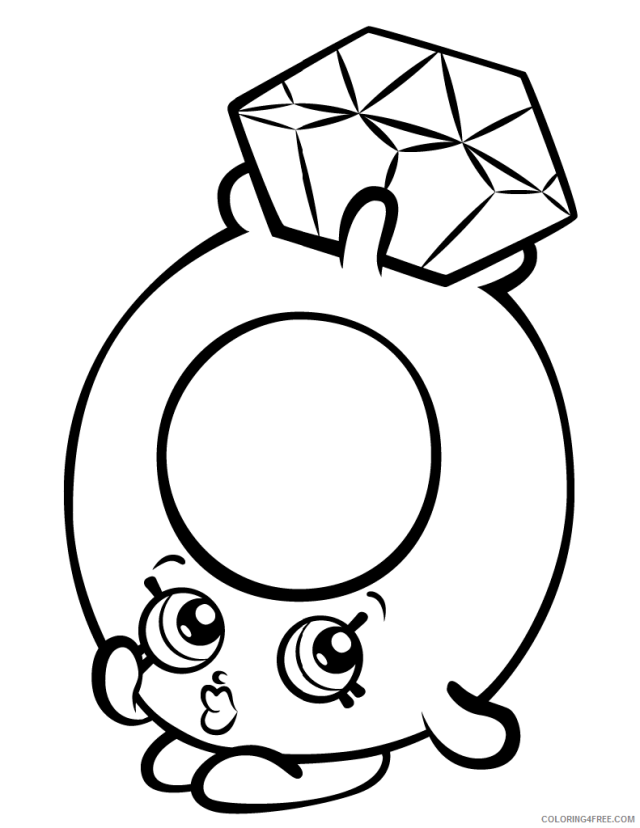 Shopkins Coloring Pages for Girls roxy ring with diamond shopkin
