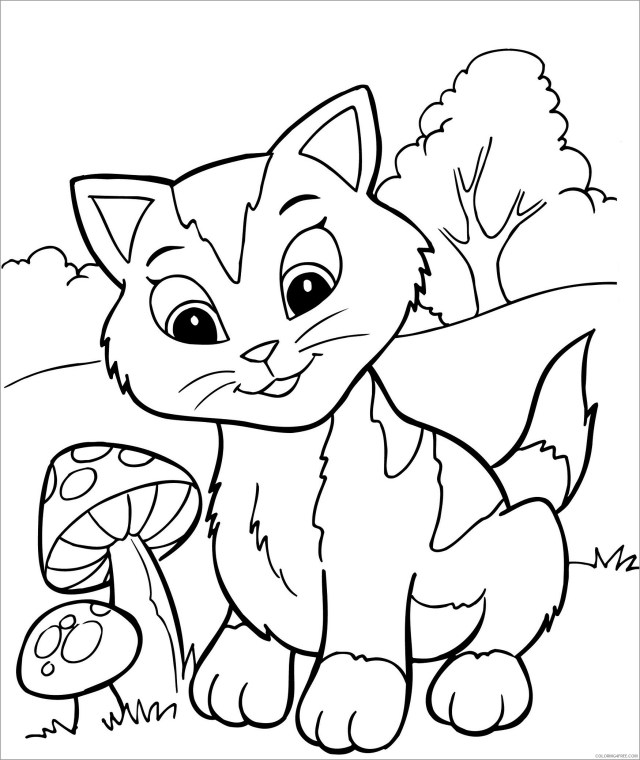 Kitten Coloring Pages Animal Printable Sheets cute kitten to print