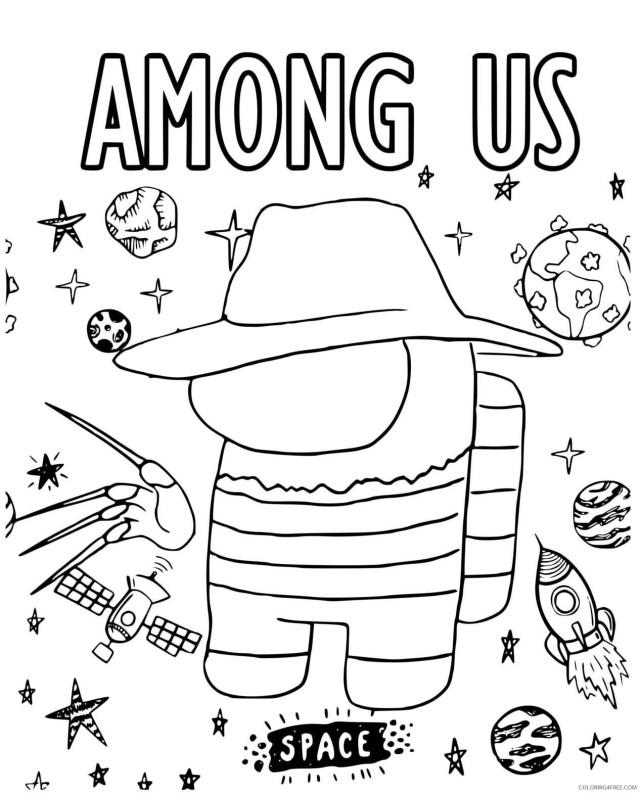 Among Us Coloring Pages Printable Sheets Freddy Krueger Among Us