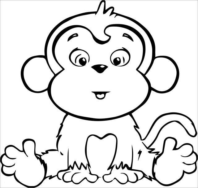Baby Monkey Coloring Page - ColoringBay