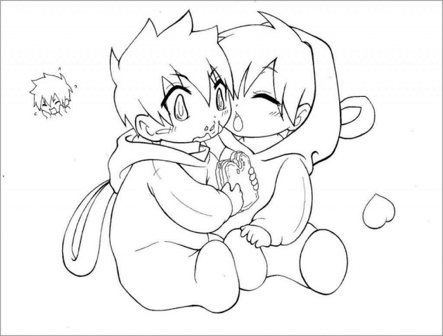 Cute Anime Boy and Girl Coloring Page - ColoringBay
