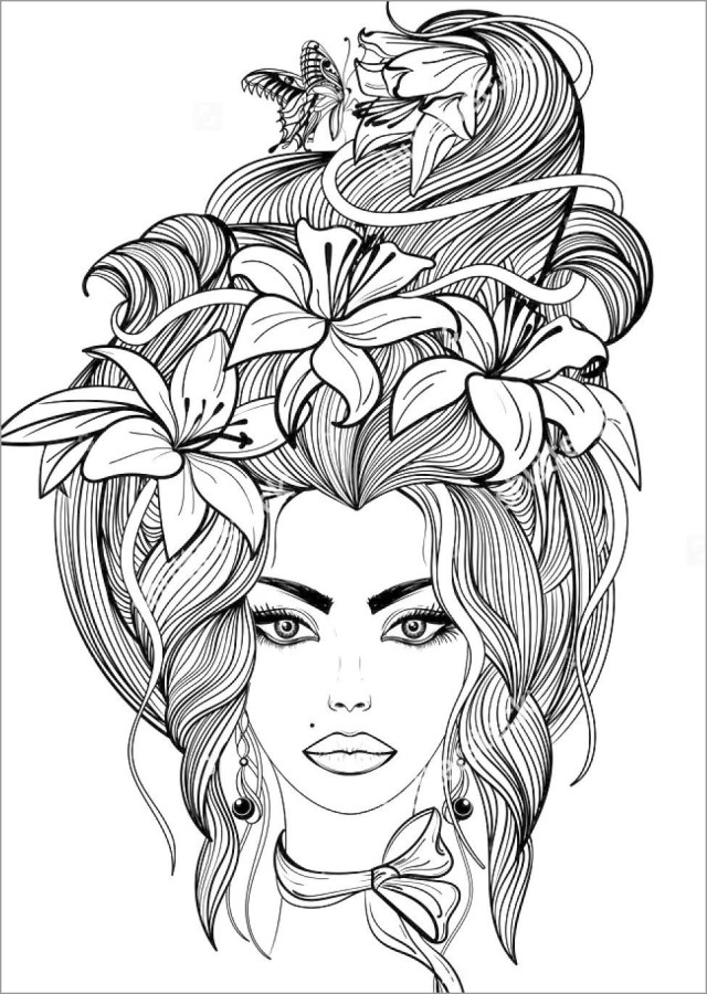 Hair Coloring Page for Adult - ColoringBay