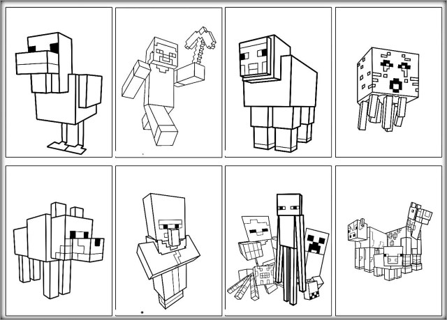 Minecraft Coloring Pages Animals - ColoringBay