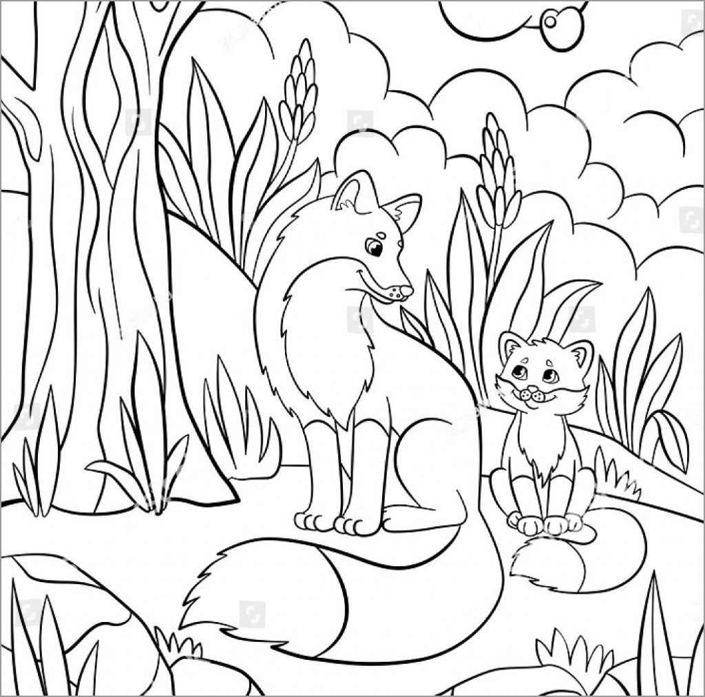 African Animals Coloring Page - ColoringBay | coloring pages of baby animals and mom